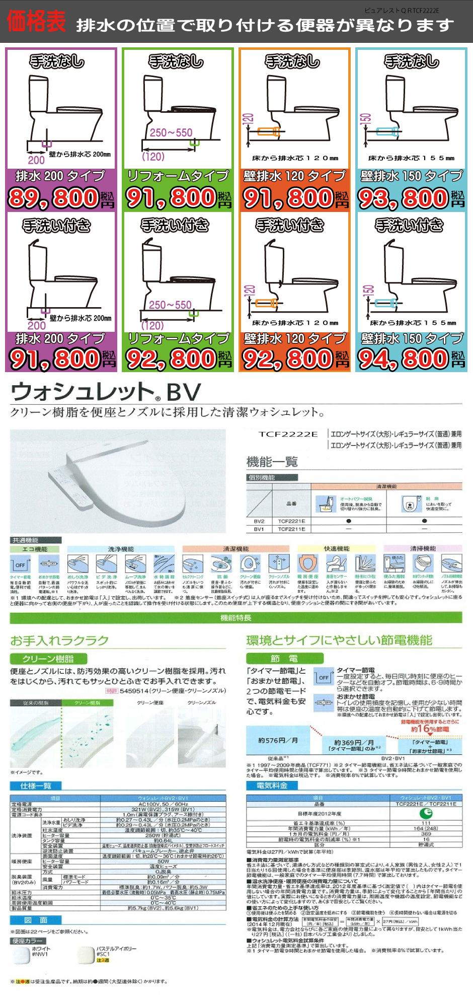 ピュアレストQR+ウオシュレットTCF2222E工事費込み価格表 説明画像