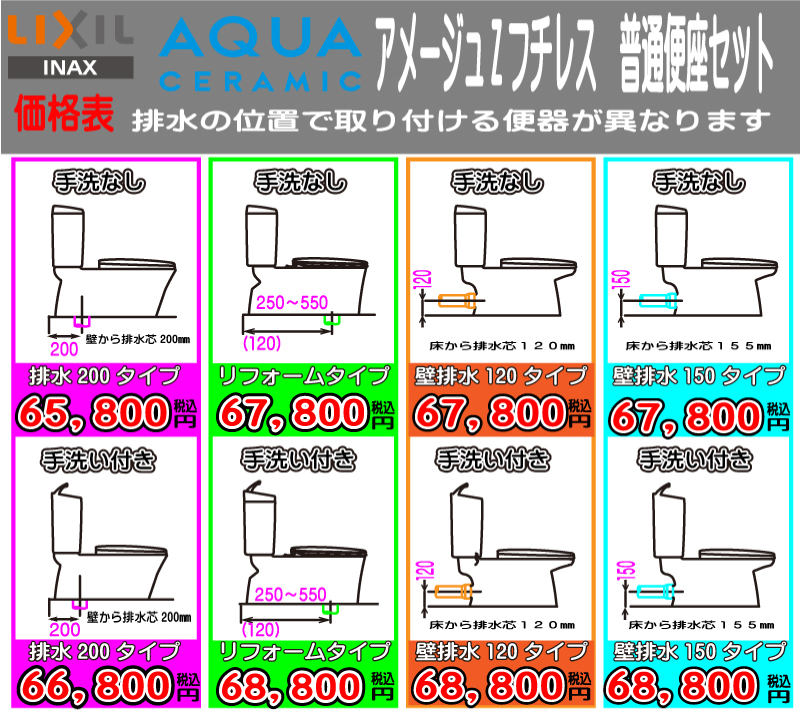 INAX アメージュZ AQUA1トイレ 価格表