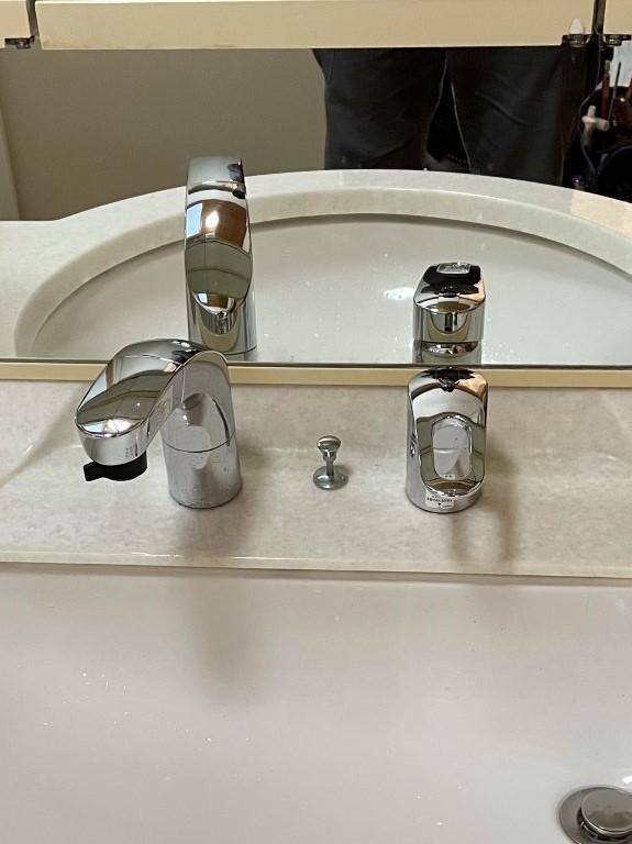 愛西市 洗面シャンプー水栓交換工事 画像
