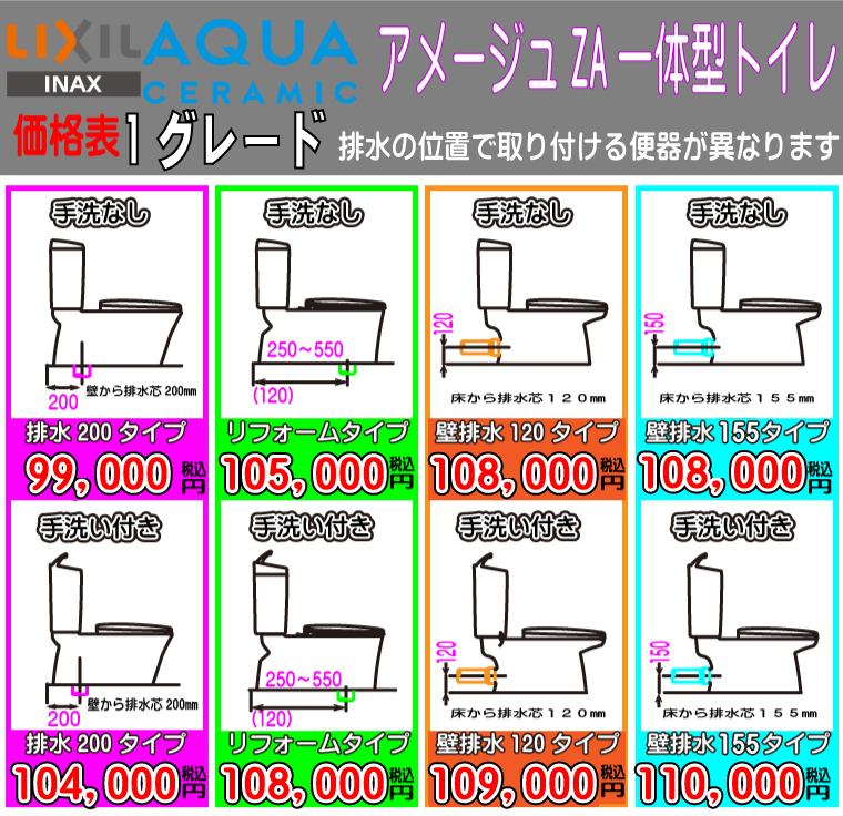 INAX アメージュZA一体型トイレ 1グレード 各種価格表